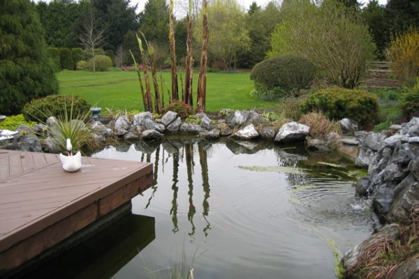 this water feature is waterproofed with Pond Shield